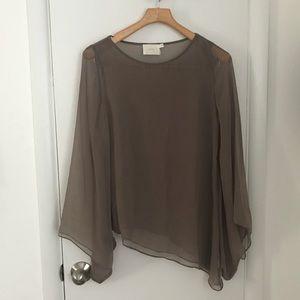 Sheer bell sleeve blouse